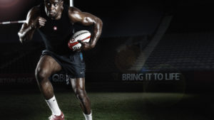 Rugby player training at night